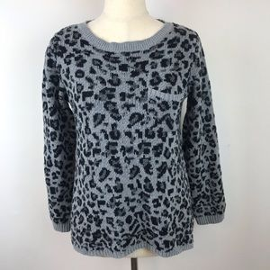 Style & co. Gray one Pocket Leopard Print Sweater